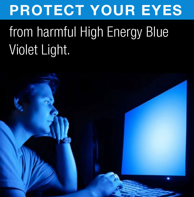 Blue Light Defense protects the eye from harmful High Energy Violet (HEV) light.